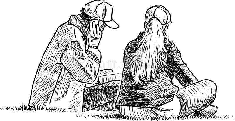 Het jonge paar ontspannen op een gras vector illustratie