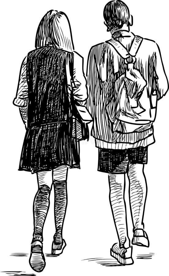 Het jonge paar wandelen vector illustratie
