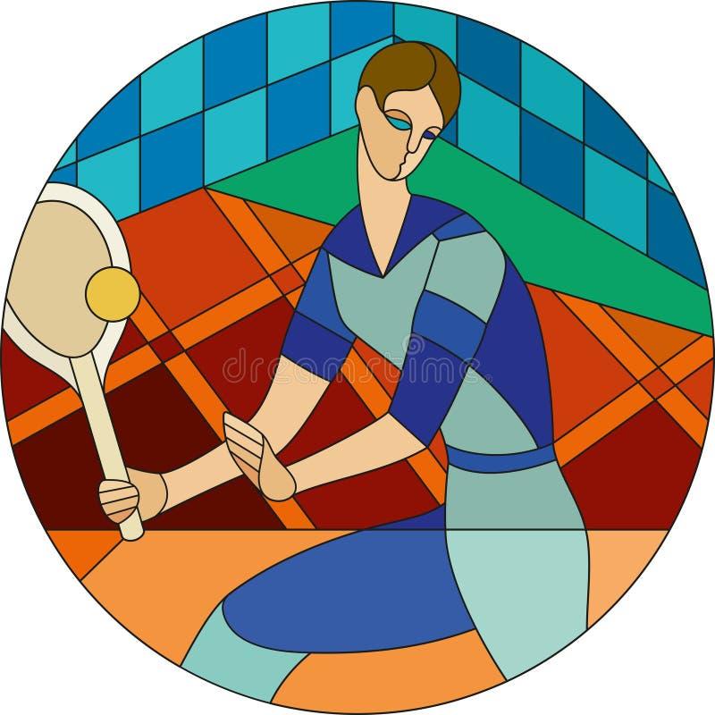 Het jonge patroon van het heren speeltennis Het patroon van het art decogebrandschilderde glas vector illustratie