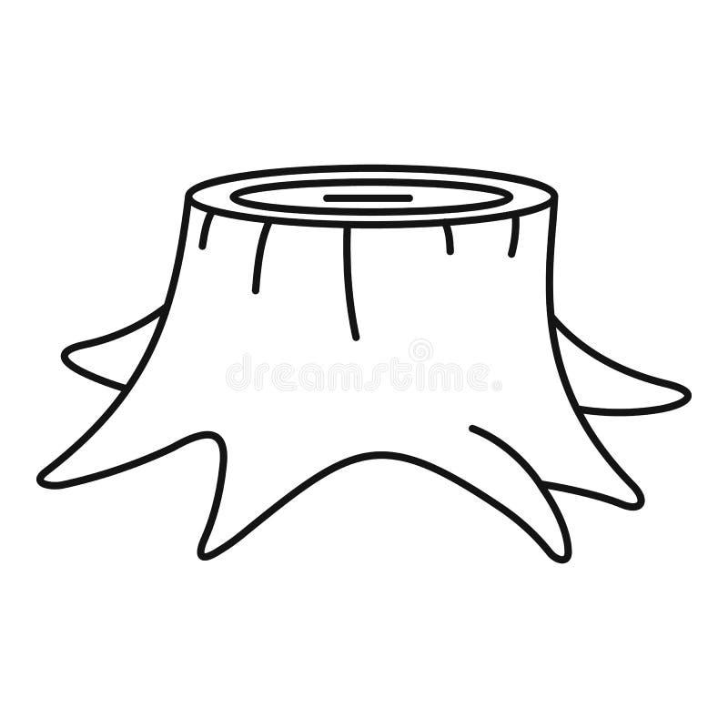 Het jonge pictogram van de boomstomp, overzichtsstijl vector illustratie