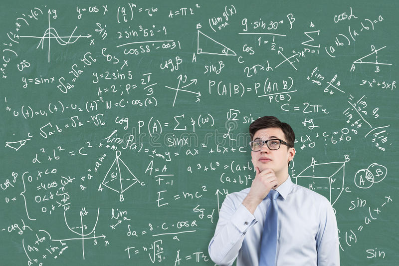 Het jonge portret van het wiskundegenie stock foto's