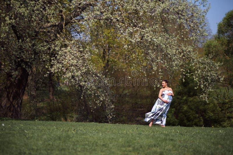 Het jonge reizigers zwangere vrouw lopen, lopend, zich omdraait en geniet van haar vrije tijdsvrije tijd in een park met royalty-vrije stock fotografie