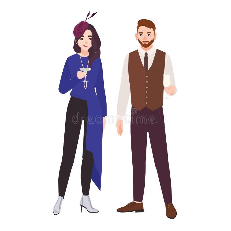 Het jonge romantische paar kleedde zich in elegante modieuze die kleren op witte achtergrond worden geïsoleerd Modieuze man en vr vector illustratie