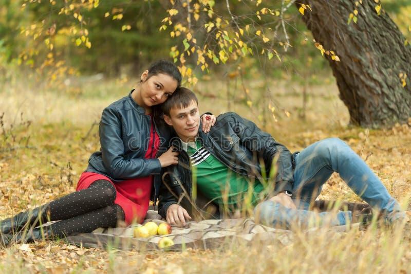 Het jonge romantische paar zit op plaid De herfstpicknick stock fotografie