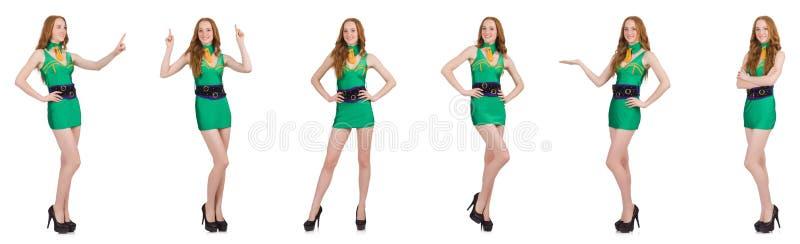 Het jonge sexy meisje in groene die kleding op wit wordt geïsoleerd royalty-vrije stock foto's