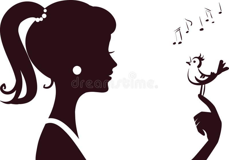 Het jonge silhouet van het beautifumeisje royalty-vrije illustratie