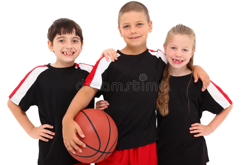 Het jonge Team van het Basketbal van het Kind van de Jongen en van het Meisje stock fotografie