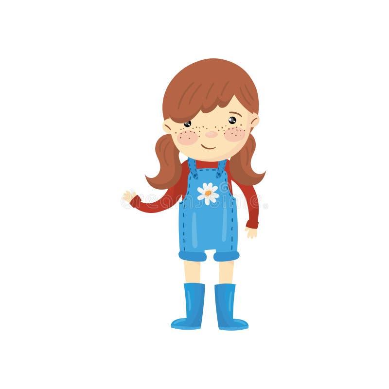 Het jonge tuinmanmeisje kleedde zich in blauwe algemene borrels, laarzen en rode sweater Beeldverhaal weinig landbouwer met bruin vector illustratie