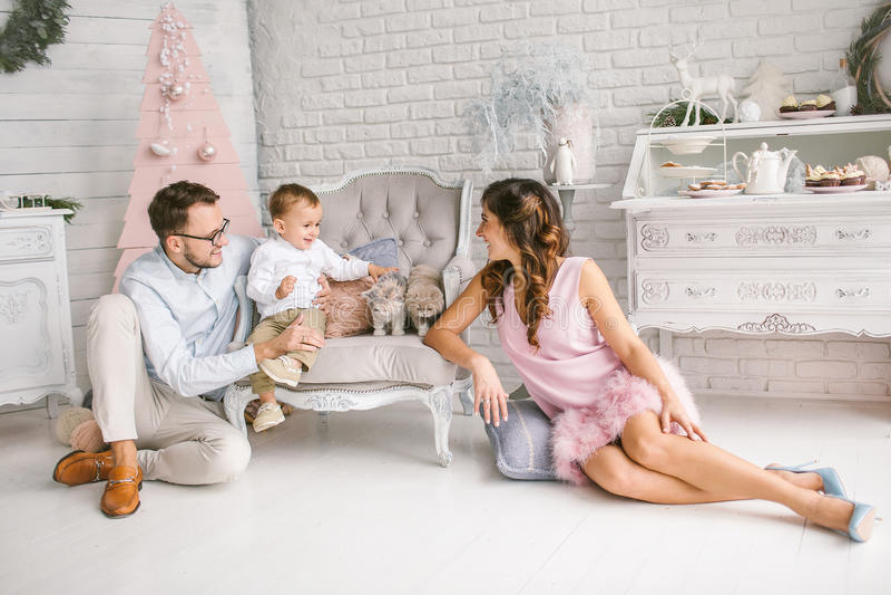 Het jonge vader en moeder spelen met zoon en katten royalty-vrije stock foto