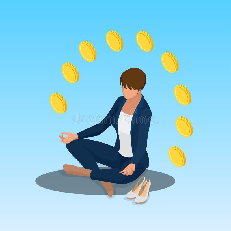 Het jonge van de bedrijfs yogapositie vrouw ontspannen De bedrijfsvrouwenzitting in padmasanalotusbloem stelt Isometrische vector royalty-vrije illustratie