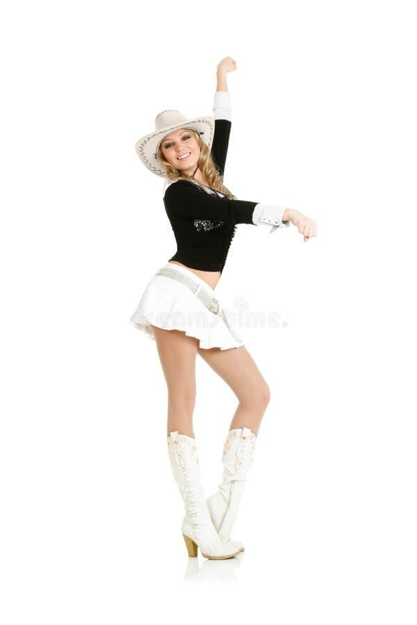 Het jonge veedrijfstervrouw dansen royalty-vrije stock afbeelding