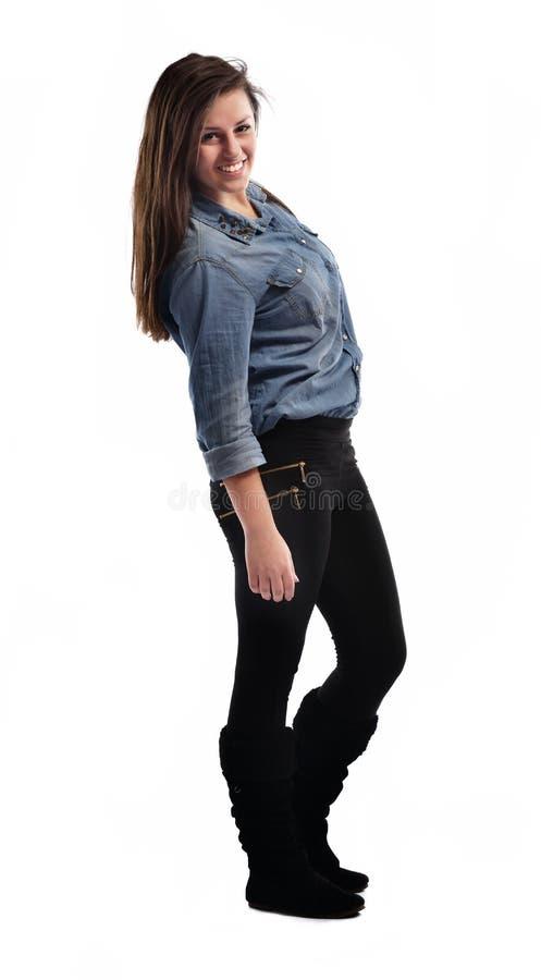 Het jonge vrouw dansen stock foto
