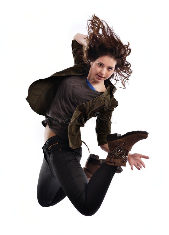 Het jonge vrouw dansen stock foto's