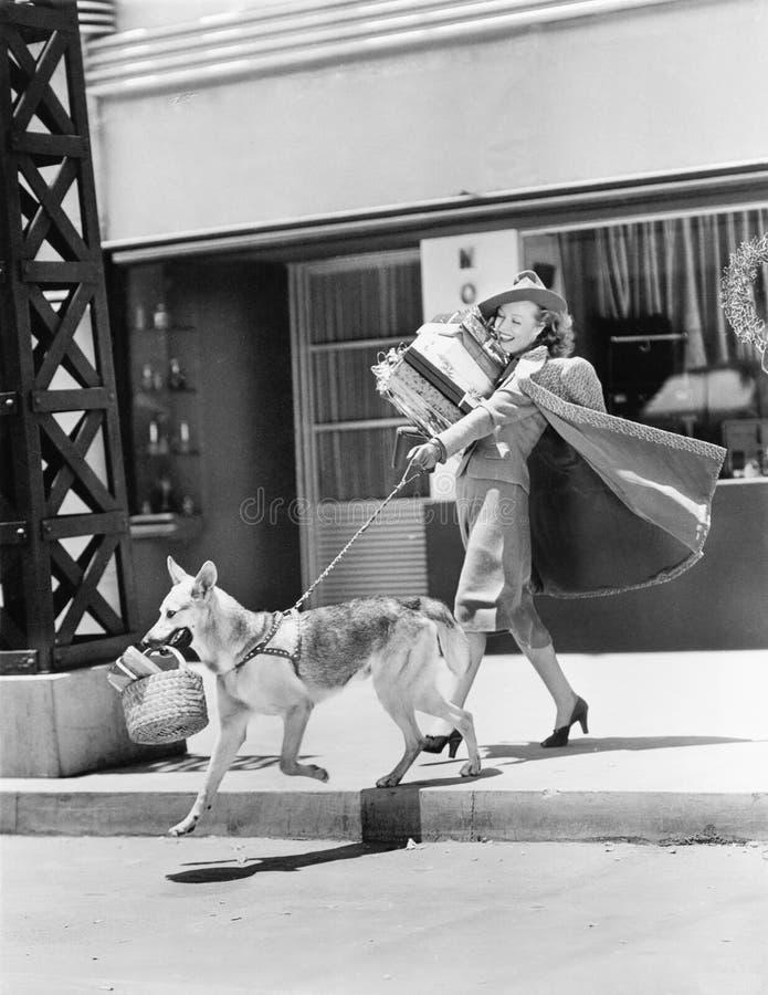 Het jonge vrouw gaan winkelend met haar Duitse herder en dragend stelt voor (Alle afgeschilderde personen leven niet langer en ge stock afbeelding