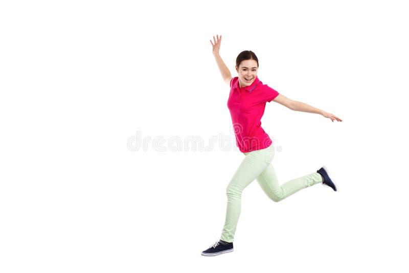 Het jonge vrouw springen royalty-vrije stock fotografie