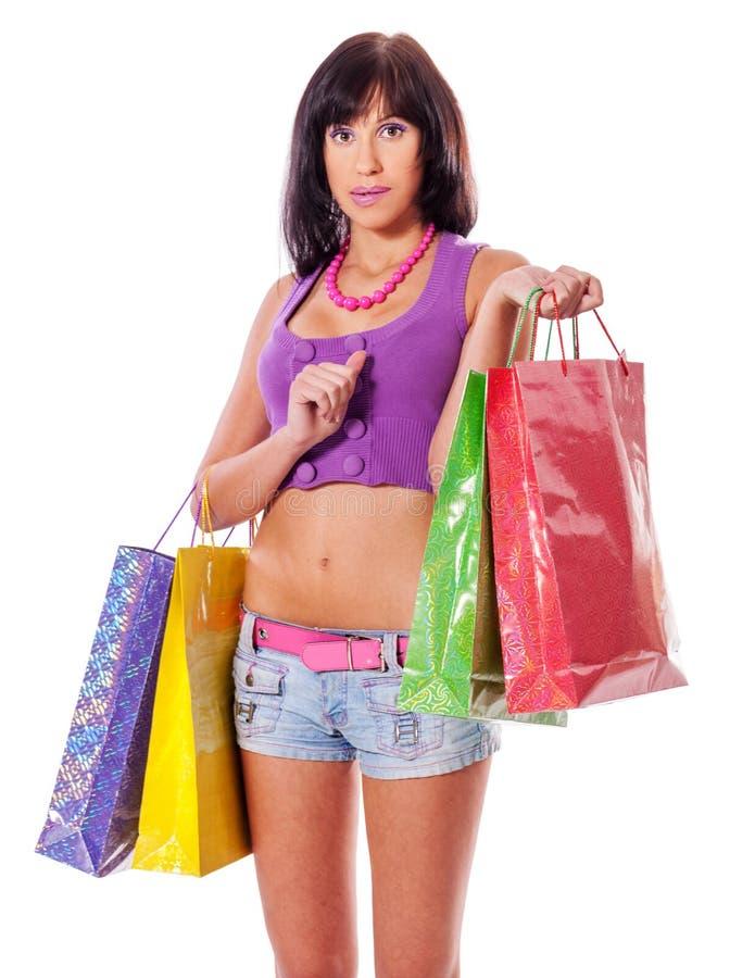 Het jonge vrouw winkelen royalty-vrije stock foto's
