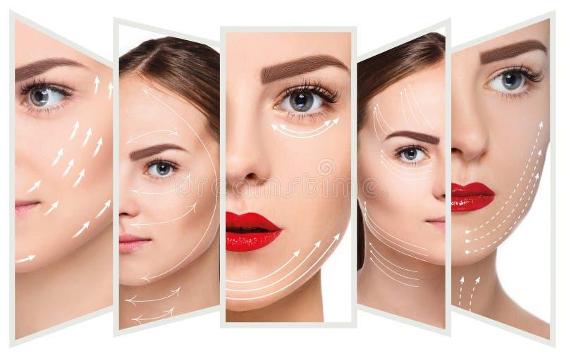 Het jonge vrouwelijke gezicht Antiaging en draad het opheffen concept royalty-vrije stock foto