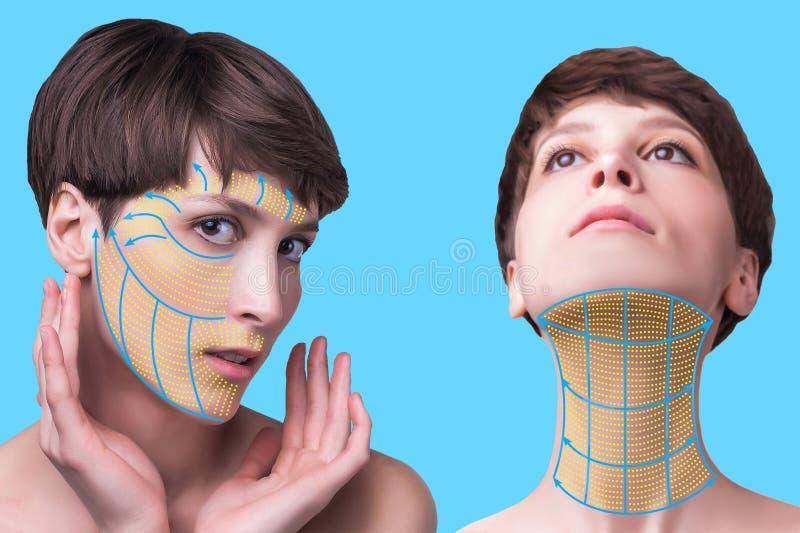 Het jonge vrouwelijke gezicht Antiaging en draad het opheffen concept stock foto