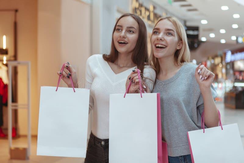 Het jonge vrouwen genieten die samen bij de wandelgalerij winkelen stock foto