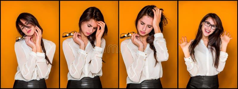 Het jonge vrouwen` s portret met emoties stock foto