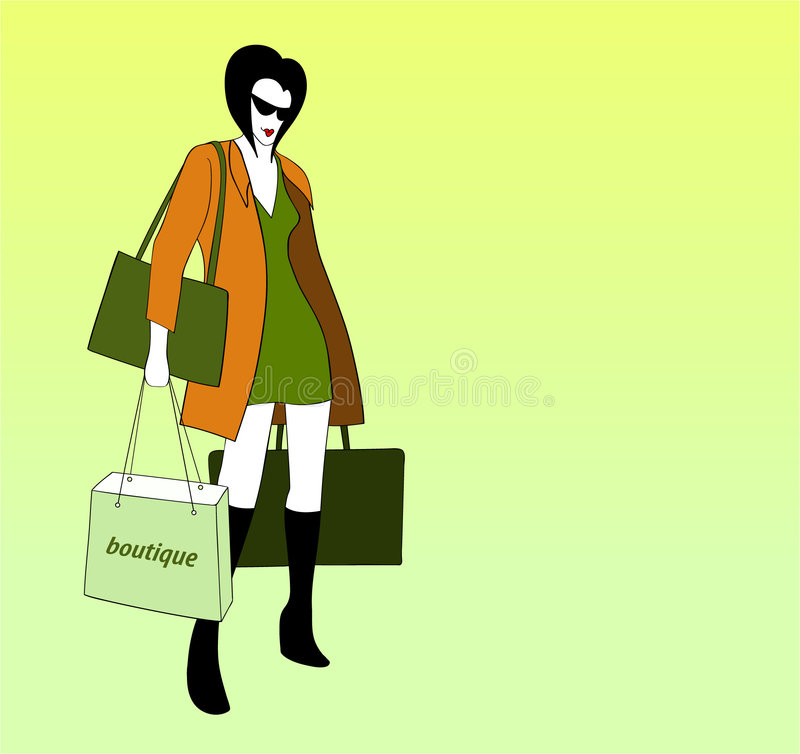 Het jonge vrouwenvenster winkelen stock afbeelding