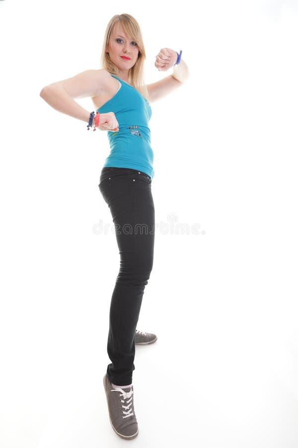 Het jonge wijfje in het dansen stelt stock afbeelding