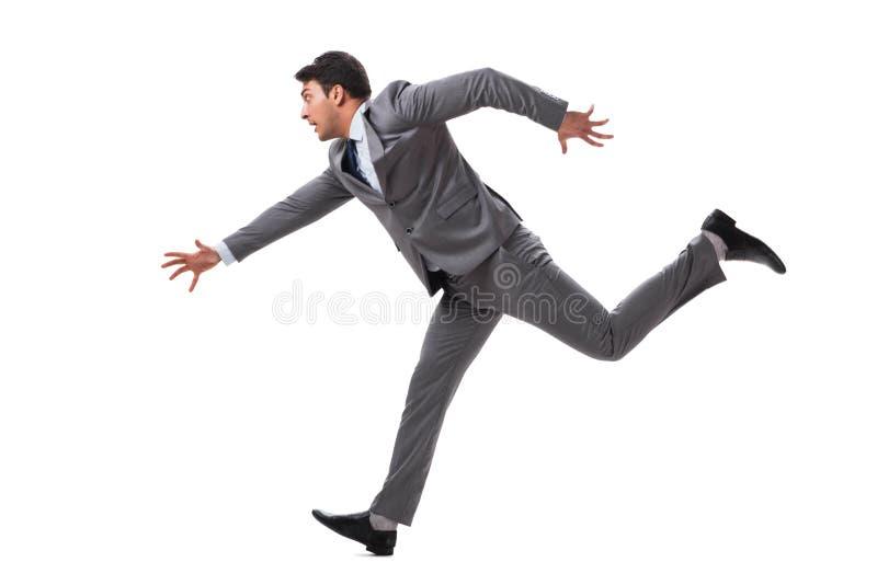 Het jonge zakenman lopen vooruit geïsoleerd op wit stock afbeelding