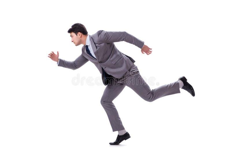 Het jonge zakenman lopen vooruit geïsoleerd op wit stock foto