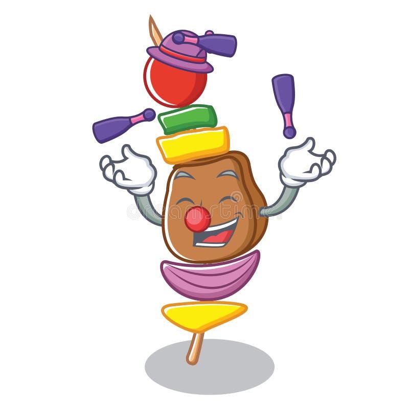 Het jongleren met het beeldverhaalstijl van het barbecuekarakter stock illustratie