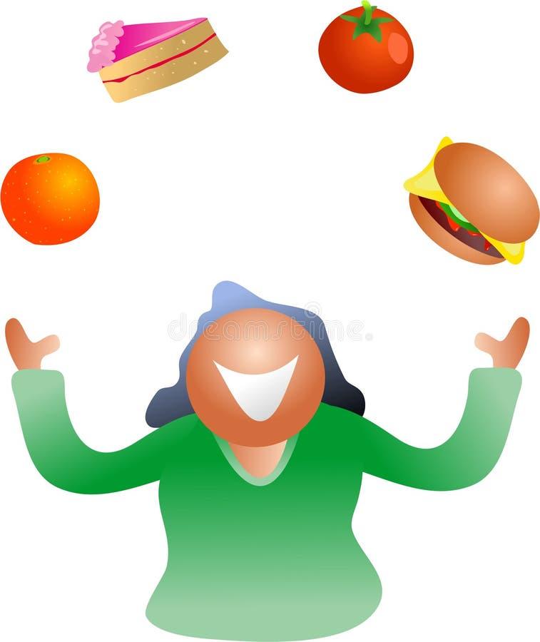 Het jongleren met dieet vector illustratie