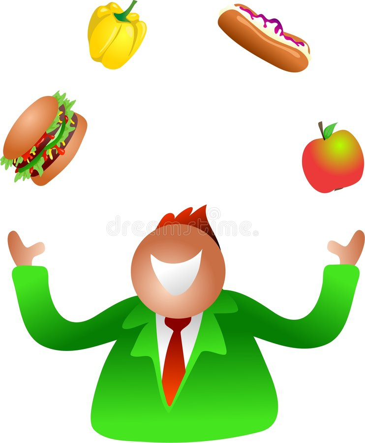 Het jongleren met dieet royalty-vrije illustratie