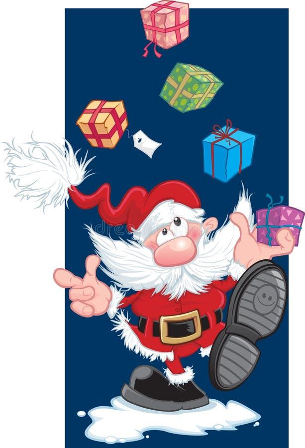 Het jongleren met Kerstman stock illustratie
