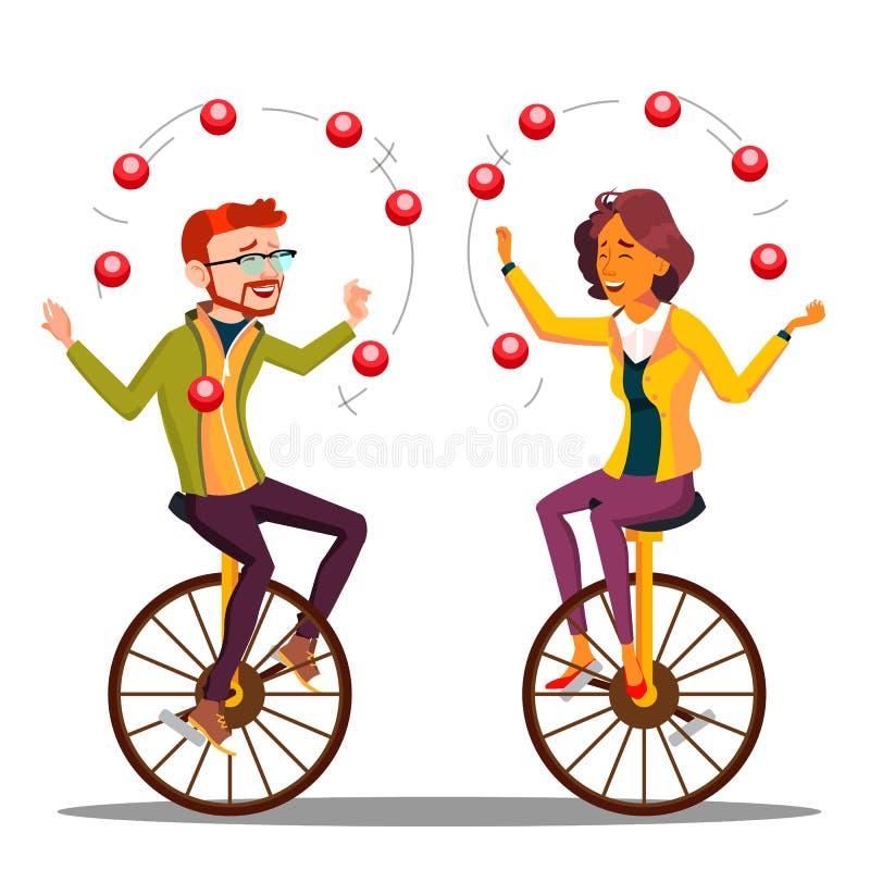 Het jongleren met Mensenvector Bedrijfsman, Vrouw het Jongleren met op Unicycle Illustratie stock illustratie