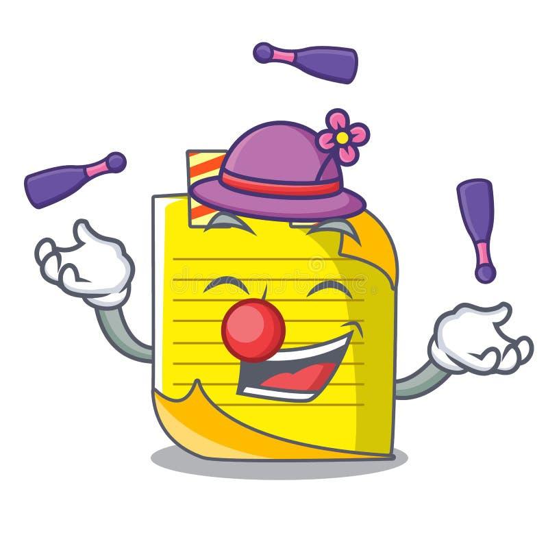 Het jongleren van het met document van de mascottenota met referentie royalty-vrije illustratie