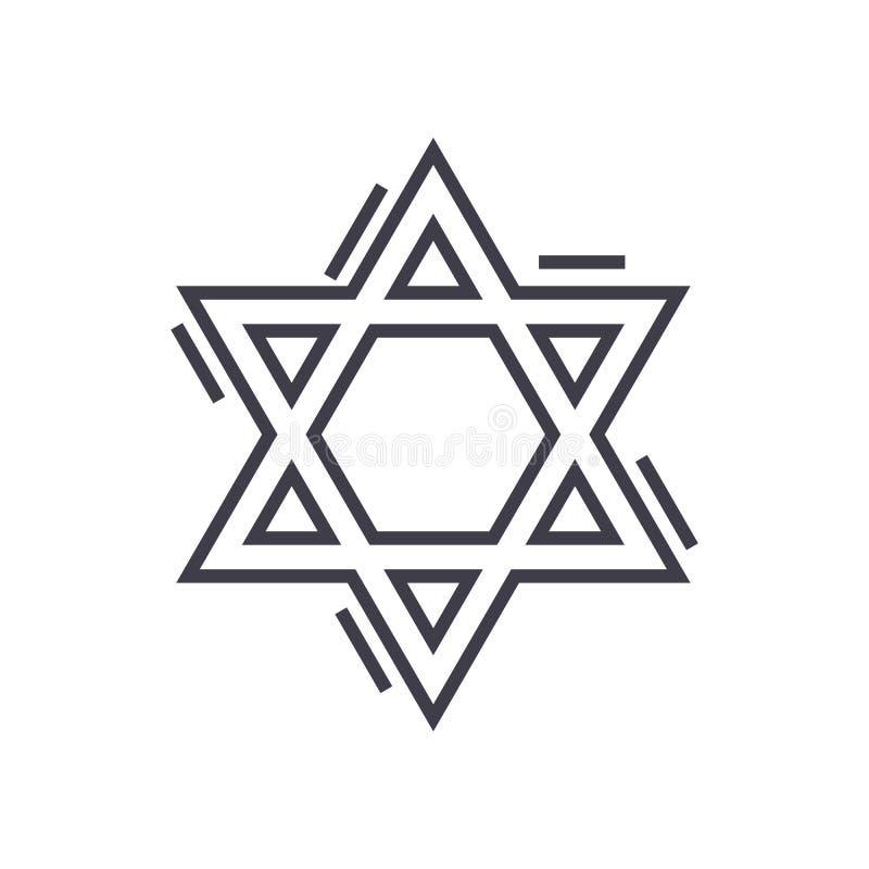 Het Joodse pictogram van de de ster vectorlijn van David, teken, illustratie op achtergrond, editable slagen vector illustratie
