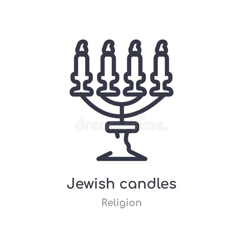 het Joodse pictogram van het kaarsenoverzicht ge?soleerde lijn vectorillustratie van godsdienstinzameling het editable dunne pict vector illustratie