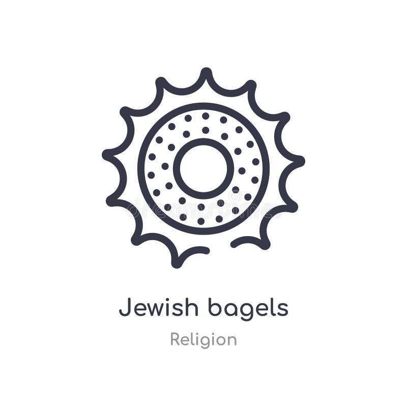 het Joodse pictogram van het ongezuurde broodjesoverzicht ge?soleerde lijn vectorillustratie van godsdienstinzameling het editabl stock illustratie