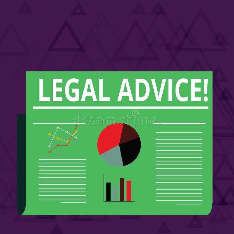 Het Juridische Advies van de handschrifttekst Concept die professionele adviezen betekenen dat door professionele advocaat Colorf stock illustratie