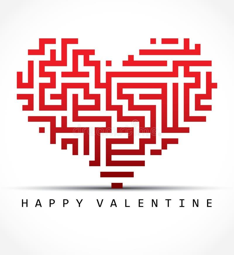 Het kaart-labyrint van de valentijnskaart hart royalty-vrije illustratie