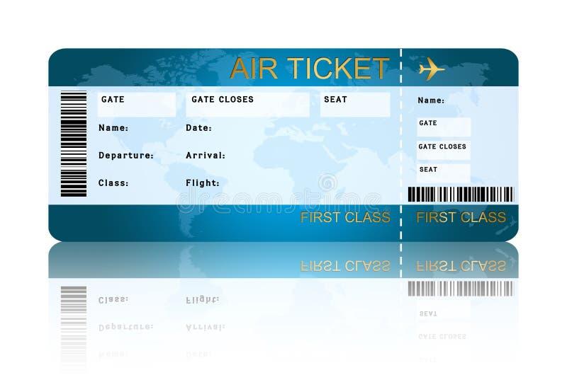 Het kaartje van de luchtvaartlijn instapkaart over wit wordt geïsoleerd dat vector illustratie