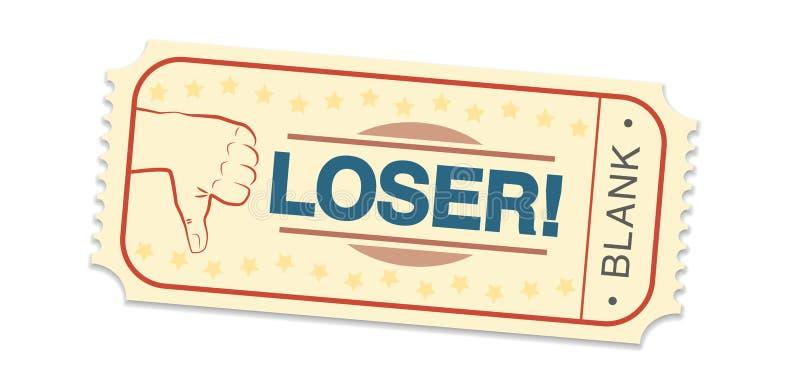 Het Kaartjes Lege Duimen van de verliezersloterij neer stock illustratie
