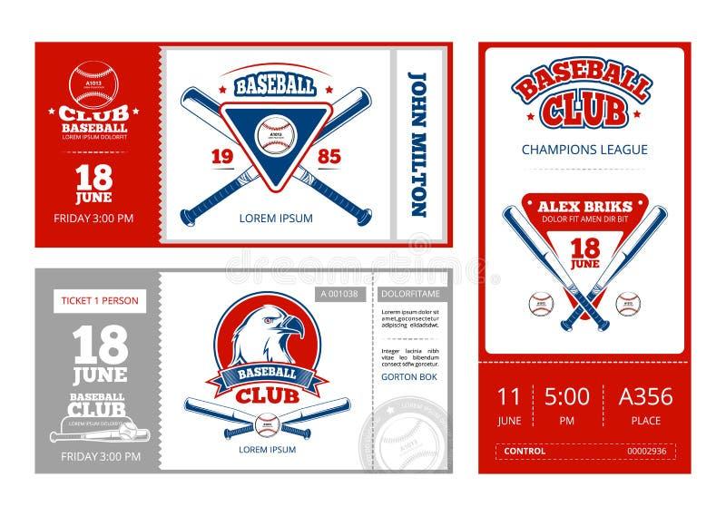 Het kaartjes vectorontwerp van honkbalsporten met de uitstekende emblemen van het honkbalteam vector illustratie