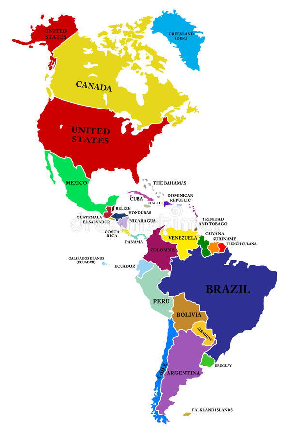 Het kaartNoorden en Zuid-Amerika vector illustratie