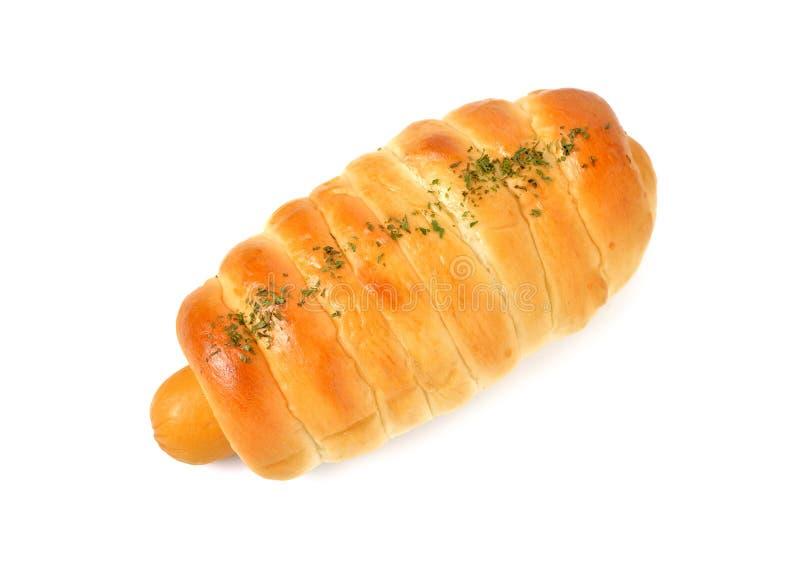 Het kaasachtige broodje van de kippenworst op wit stock foto