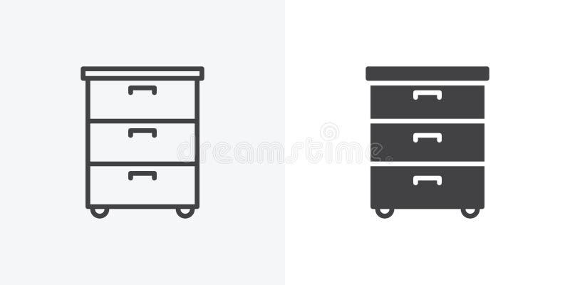 Het kabinetspictogram van bureaudocumenten stock illustratie