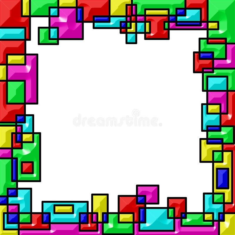 Het kader, colorated randen van het geometrische vormen overlappen Witte achtergrond royalty-vrije illustratie
