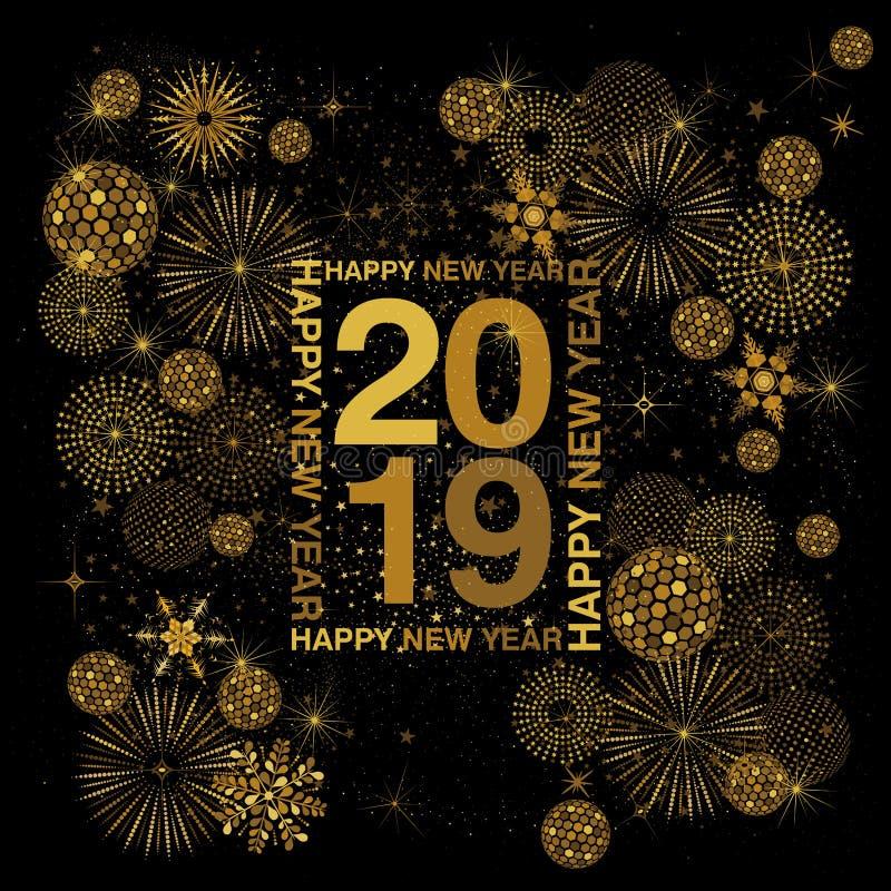 Het kader die van de rechthoektypografie met Gelukkig Nieuwjaar rond 2019 cijfers in goud op een zwarte achtergrond van letters v royalty-vrije illustratie