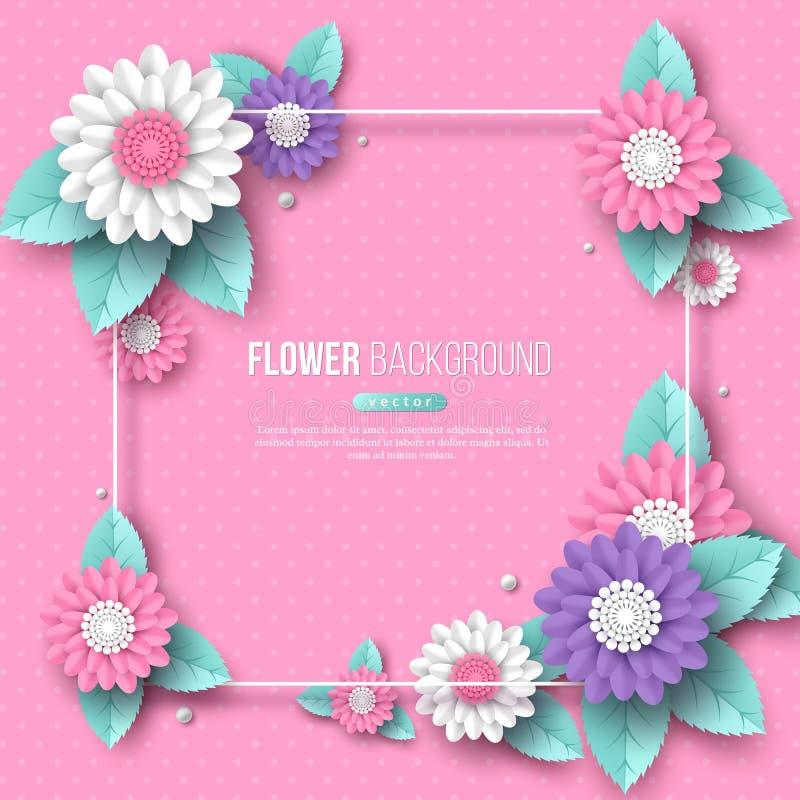 Het kader met document sneed 3d bloem in roze, witte en violette kleuren Plaats voor tekst, gestippeld patroon Decoratieve elemen royalty-vrije illustratie