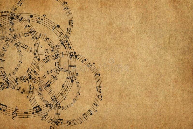 Het kader met muziek neemt nota van achtergrond royalty-vrije illustratie