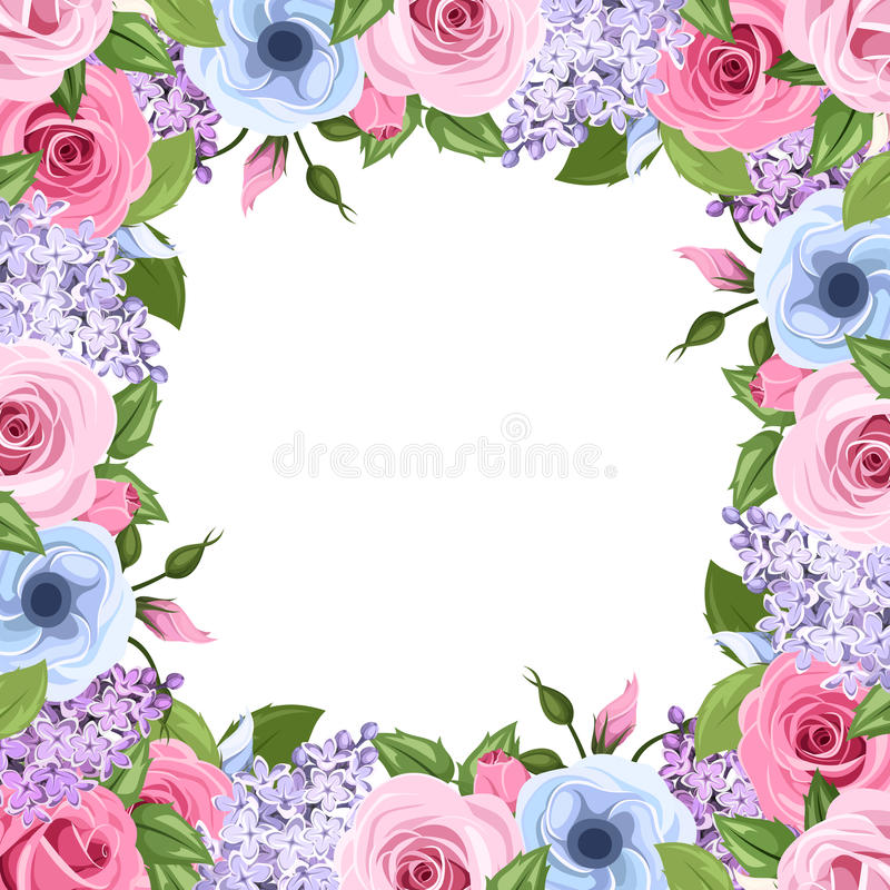 Het kader met roze, blauwe en purpere rozen, lisianthus en sering bloeit Vector illustratie stock illustratie